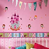 Walplus 100x30 cm Wall Stickers Angels Castle Princess Removable Self-Adhesive Mural Art Decals Vinyl Home Decoration DIY Living Bedroom Office Décor Wallpaper Kids Room Gift, Multi-colour