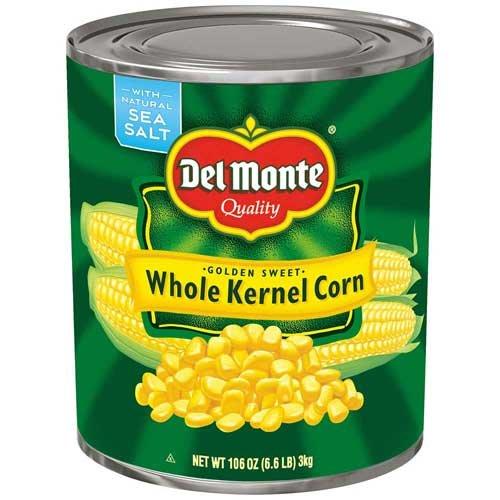 Del Monte Golden Sweet Whole Kernel Corn, 106 Ounce - 6 per case.