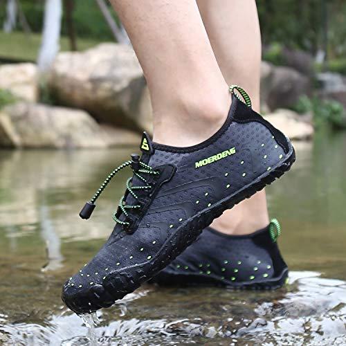 MOERDENG Men Women Water Shoes Quick Dry Barefoot Aqua Socks Swim Shoes for Pool Beach Walking Running (Dark grey) 12 M US Women / 10 M US Men by MOERDENG (Image #7)