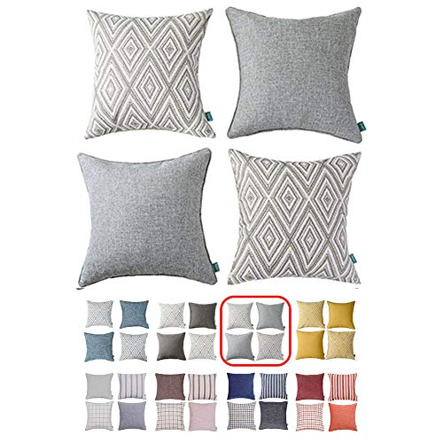 Home Plus Plaid Polyester Linen Decorative Pillow Covers 4 pcs Throw Pillows Covers Gray/Grey White Couch Pillowcase Cushion Cover 17X17 Throw Pillow Cover Couch Gray White Set of 4 Holiday Bedroom