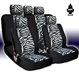 zebra car accessories interior - Yupbizauto New Brand Safari Zebra Print Universal Size Car Truck SUV Seat Covers Set Velour and Mesh Material Gift Set with Air Freshener