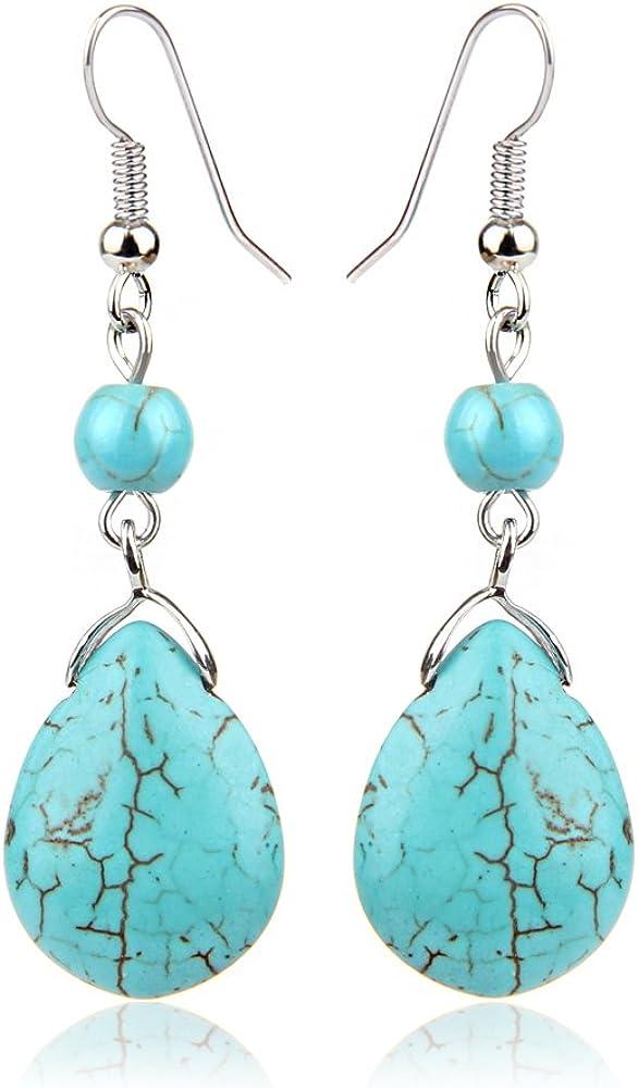 XZANTE Retro Pendientes Simples De Turquesa De Piedra Natural Con Gotas Pendientes De Piedra De Textura, Azul