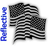 (2) REFLECTIVE Black Ops American Flags Stealth Hard Hat Stickers | Motorcycle Welding Helmet Decals | Stealth Labels USA Flag America Freedom Patriotic AR15 Lower MAG Laborer Foreman Tactical