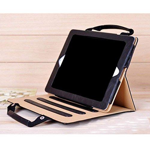 iPad Air 2 Case Leather,SIX-SEVEN Slim Business Style Handbag Document Card Pocket with Hand Strap Folio Flip Sleeve for 9.7 inch iPad Air 2 Case,Black -