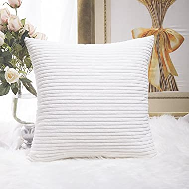Home Brilliant Decor Striped Corduroy Velvet Cushion Cover for Baby Supersoft Handmade Decorative Pillowcase, Off-White, 18 x18 (45cm)