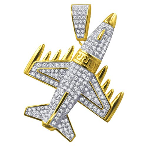 Mens 14K Yellow Gold Pendant Airplane Pave Charm Simulated Diamond -