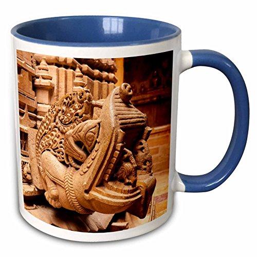 3dRose Danita Delimont - Architecture - Bas Relief. Jain Temple. Jaisalmer Fort. Jaisalmer. Rajasthan. - 15oz Two-Tone Blue Mug (mug_225677_11)
