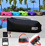 Mad Grit Best Inflatable Sofa Best Air Lounger - Pool Float Lounge Chair - Lazy Hangout Bag - Water Proof Air Hammock - Includes: 2 LED Camping Lights, 3 Pockets & Bottle Opener.