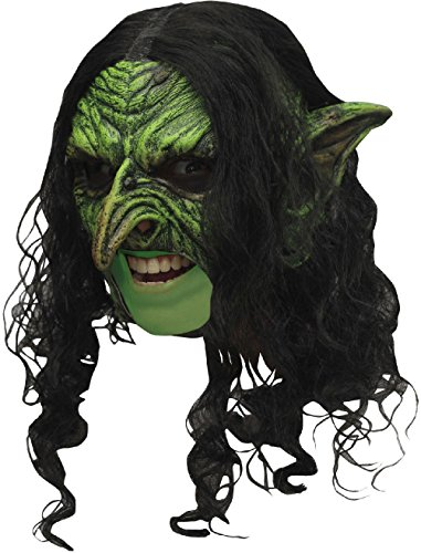 Deluxe Sequin Witch Costumes (Wicked Deluxe Witch Latex Mask Green Goblin Black Hair Sorceress Open Mouth)