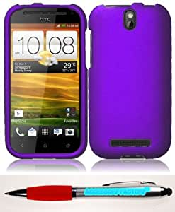 Accessory Factory(TM) Bundle (the item, 2in1 Stylus Point Pen) For HTC One SV Rubberized Cover Case - Purple