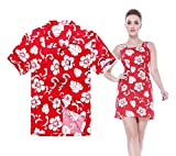 Couple Matching Hawaiian Luau Outfit Aloha Shirt Tank Dress In Hibiscus Red Classic Men 2XL Women L