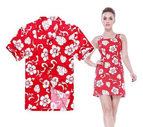 Couple Matching Hawaiian Luau Outfit Aloha Shirt Tank Dress in Hibiscus Red Classic Men XL Women L