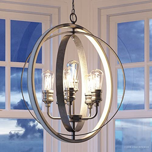 Luxury Vintage Chandelier, Large Size 30.75 H x 28 W, with Modern Farmhouse Style Elements, Galvanized Steel Finish, UHP2211 from The Anchorage Collection by Urban Ambiance