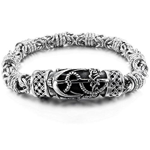 (INBLUE Men's Stainless Steel Bracelet Link Wrist Silver Tone Anchor Nautical Celtic Cross Magnetic Clasp)