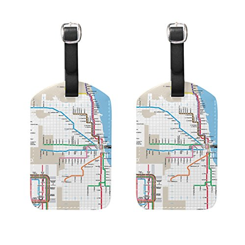 LEISISI Classic Chicago Subway Map Travel Luggage Tags Suitcase Luggage Bag Tags, Travel ID Bag Tag Airlines Baggage Labels - Terminal Map Chicago