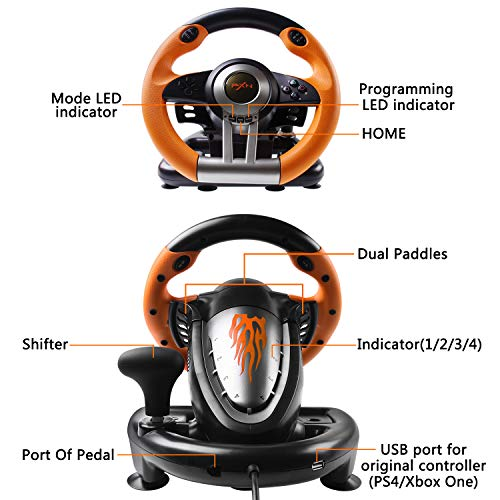 180 Degree Dual-Motor Vibration Driving Gaming Racing Wheel with Responsive Pedals for PC/PS3/PS4/XBOX ONE/Switch PXN-V3II (Orange) 51rvf6tOMFL