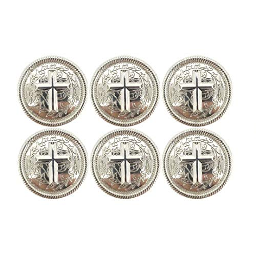 1.18 Inches Western Engraved Cross Concho for Leather with 0.39 Inches Screw Back, Set of 6