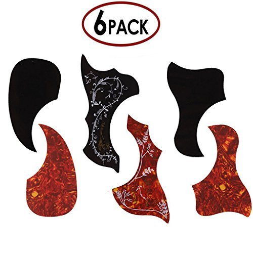 JIERUI Acoustic Guitar Pickguard Set, Self Adhesive, Pack of 6 (Acoustic Pickguards Guitars)