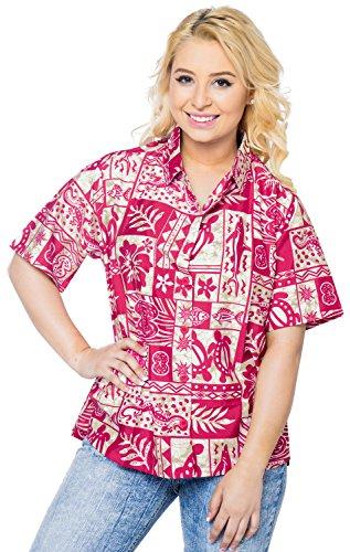 La Leela bot�n de la tapa del tanque de las mujeres ropa de playa floral abajo camisa de manga corta blusa rosada rosado