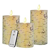 Flameless LED Candles Flickering Birch Bark Unscented Pillar 100 Hours Moving Flame 4' 5' 6' Set of 3 Real Wax Battery Operated with Timer and Remote Control