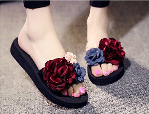 Las Sandalias de Rojo Seashore elegante 37 talón Inferior grueso Word frescas Toallas del Moda playa 35 Transpirable Flores Ajunr Zapatillas 3cm zapatillas pendiente La vino q1HTtxp