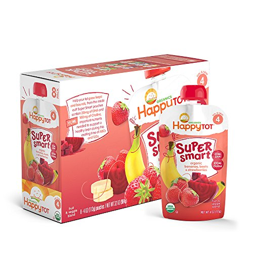 Happy Tot Organic Stage 4 Super Smart Organic Toddler Food, Bananas/Beets/Strawberries, 4 Ounce (Pack of 16)