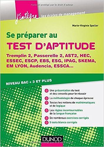 Livres gratuits Se préparer au test d'aptitude - Tremplin 2, Passerelle 2, AST2, HEC, Essec - Niveau bac + 3 et plus epub, pdf
