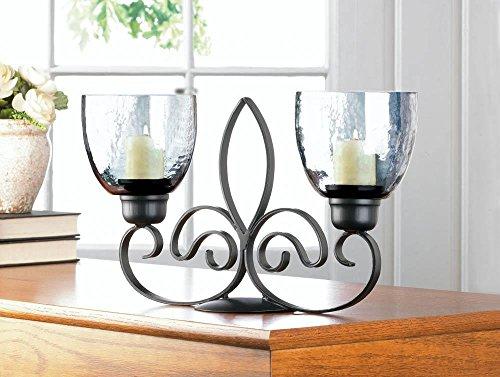 Fleur De Lis Centerpiece (Fleur De Lis Duo Candle Stand French Style Stunning Elegant Centerpiece Decor)