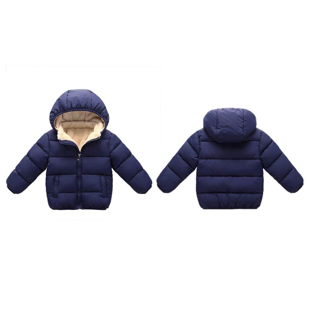 BOBORA Unisex Baby Winter Coat Hooded Down Jacket Outerwear Flannel Interlining Zipper Winter Toddler Coat