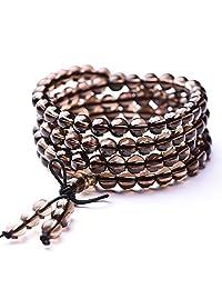AmorWing Unisex Tiger Eye Onyx Smoky Quartz 108 Mala Prayer Beads Stretch Stones Bracelet Necklace