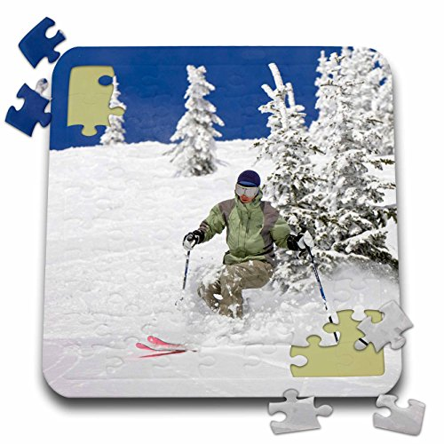 Telemark Powder Skis - Danita Delimont - Skiing - Telemark Skier, Whitefish Mountain Resort, Montana - US27 CHA1219 - Chuck Haney - 10x10 Inch Puzzle (pzl_91717_2)