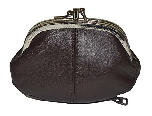Coin Purse Double Frame with Zipper Pocket (Brown) -
