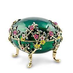 Kelch Apple Blossom Royal Russian Egg- Enameled Jewelry Trinket Box Figurine
