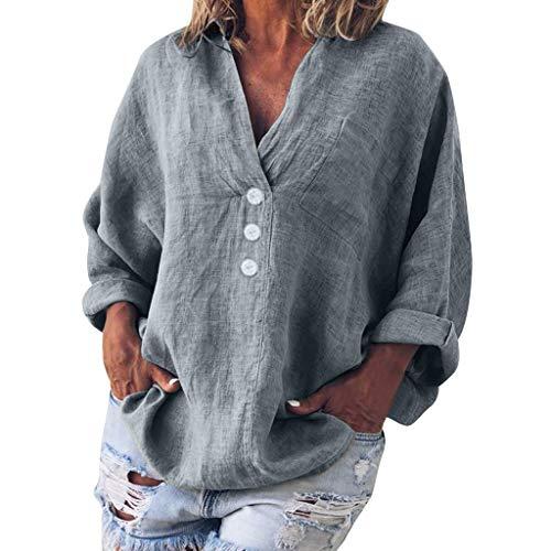 Linen T-Shirt Women Plus Size Fashion Solid Casual V-Neck Button Blouse