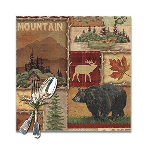 HMDEI Rustic Lodge Bear Moose Deer Placemats Heat-Resistant Anti-Skid Washable DiningTable Mats Home Decoration Accessory, Set of 6,12x12 in