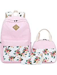 Teens Backpack Set Canvas Girls School Bags Bookbags 3 in 1 (E0079-Pink)