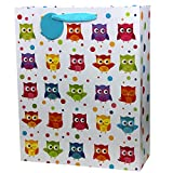 Fzopo Extra Large Gift Bags Party Favor Bags, Cute Owl Gift Paper Bags,Perfect for Kids Teens Girls and Boys, Baby Shower, Birthday, Celebrations and Parties, 6 Pack Large Size (12x15 inches)