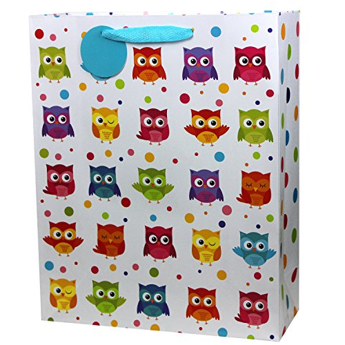 Fzopo Extra Large Gift Bags Party Favor Bags, Cute Owl Gift Paper Bags,Perfect for Kids Teens Girls and Boys, Baby Shower, Birthday, Celebrations and Parties, 6 Pack Large Size (12x15 inches) -