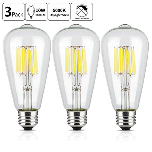 OMAYKEY LED Edison Bulb 5000K 10W (100W Equivalent) Daylight White Glow 1000LM, E26 Medium Base ST64 Vintage Edison Light Bulbs, 360 Degree Beam Angle, Non-dimmable, Pack of 3