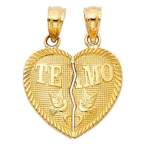 Million Charms 14k Yellow Gold Breakable Heart Charm Pendant, Te Amo with Love Birds Doves Embossed, 17mm x 15mm ()