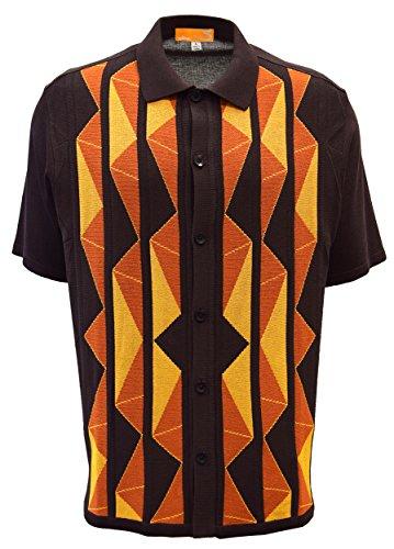 SAFIRE SILK INC. Edition-S Men's Short Sleeve Knit Shirt- California Rockabilly Style Aztec Triangle Design (3XL, (Aztec Design)