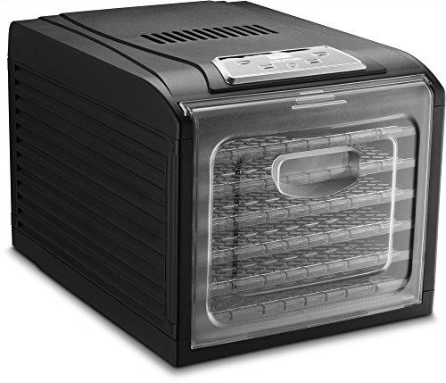 Gourmia GFD1650 Premium Countertop Food Dehydrator,6 Drying Shelves, Digital Thermostat, 8 Preset Temperature Settings, Airflow Circulation, Countdown Timer -Free Recipe Book Included- Black - 110V