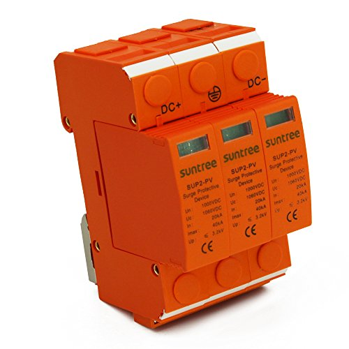 Suntree Surge Protective Device for PV Solar System DC 1000V 20KA/3P Surge Arrester for PV System II Classified Test UP 3.8KV 10mm Stripping Length