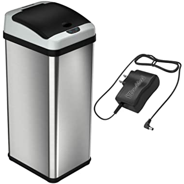 iTouchless 13 Gallon Stainless Steel Touchless Trash Can with AC Adapter, Platinum Limited Edition, Odor Control System Kitchen Bin