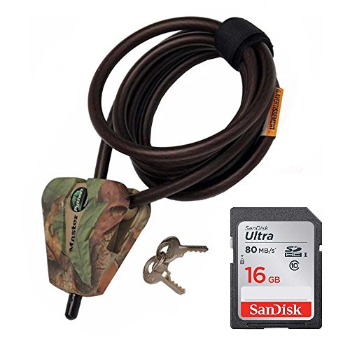 Python Card - Master Lock Cable Lock, Python Adjustable Keyed Cable Lock, 6 ft. Long, Camouflage, 8418DCAMO & 16GB SD Card