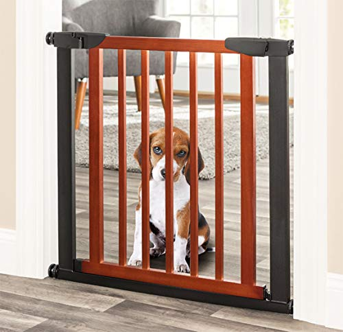 Palmer Dog Gate – Indoor Pet Barrier, Expandable to 40 , Walk Through Swinging Door, Extra Wide, Pressure Mounted, Walls, Stairs. Small and Large Dogs. Wood, Metal. Best Dog Gate. NMN Designs