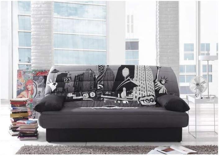 Coco Banquette Clic Clac 3 Places 190x89x90 Cm Tissu Polyester Imprime New York
