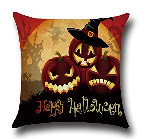 [DolphineShow Printed Cotton Linen Square Funny Happy Halloween Pattern Pillow Shams Sofa Throw Cushion Pillow Cover Cases] (Outdoor Halloween Ideas)