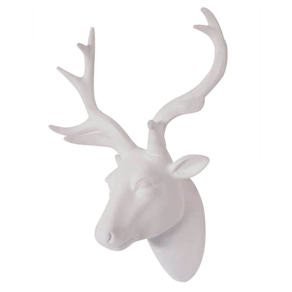 "Animal Head Wall Art Deer head Wall Art Decor Resin White Fake Furry/Felt/Velvety Deer Head With White Antlers For Wall Mount Decoration Size 10"" x 12"" x 5.5"" by Smarten Arts"