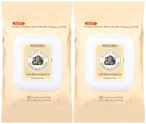(Burt's Bees Baby Face and Hand Cloths - Fragrance Free - 30 ct - 2 Pack )